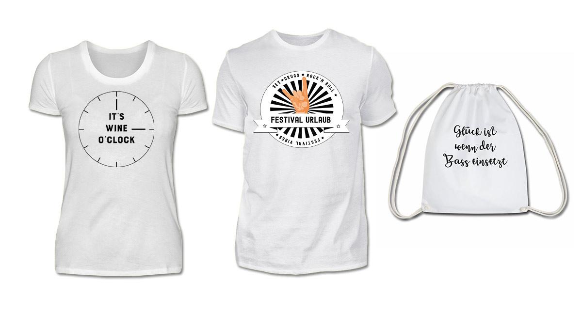 Festival T-Shirts Shop, witzige Festival Shirts, Festival Beutel